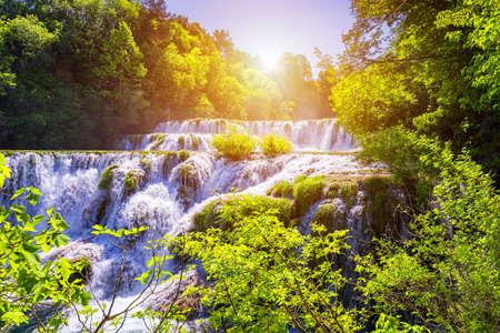Beautiful Skradinski Buk Waterfall In Krka National Park, Dalmatia, Croatia, Europe. The magical waterfalls of Krka National Park, Split. An incredible place to visit near Split, Croatia. 스톡 콘텐츠
