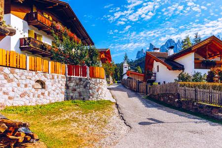 Street view of Santa Maddalena (Santa Magdalena) village, Val di Funes valley, Trentino Alto Adige region, South Tyrol, Italy, Europe. Santa Maddalena Village, Italy.