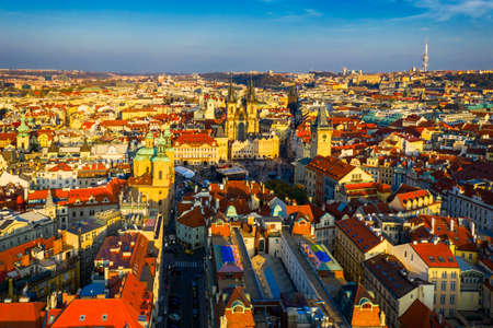 Aerial Prague panoramic drone view of the city of Prague at the Old Town Square, Czechia. Prague Old Town historical center of Prague, buildings and landmarks of old town, Prague, Czech Republic. Standard-Bild - 142093661