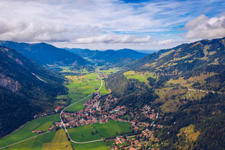 Bayrischzell municipality aerial view, with a view of Osterhofen town. German beautiful nature and green forests, Bavaria, Germany. The village Bayrischzell in mountains of Alps, Bavaria Germany.