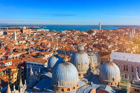 View of the dome of San Giorgio Maggiore church and Giudecca Canal in Venice, Italy. Amazing aerial view on the beautiful Venice, Italy. Venice from above, Venice landmark with old buildings. Stockfoto