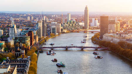 Aerial panorama view on London. View towards Houses of Parliament, London Eye and Westminster Bridge on Thames River. Stockfoto