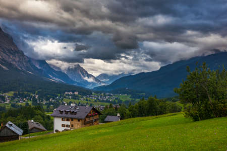 Imressive Dolomites mountains and traditional villages. North of Italy Stockfoto