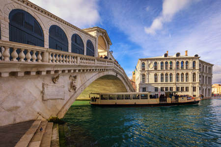 Panorama of Grand Canal and Rialto Bridge, Venice, Italy Stock fotó