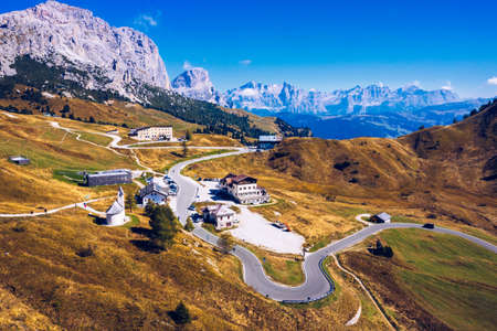 Autumn landscape in Passo Gardena, South Tyrol, Dolomites, Italy. Mountain landscape of the picturesque Dolomites at Passo Gardena area in South Tyrol in Italy.