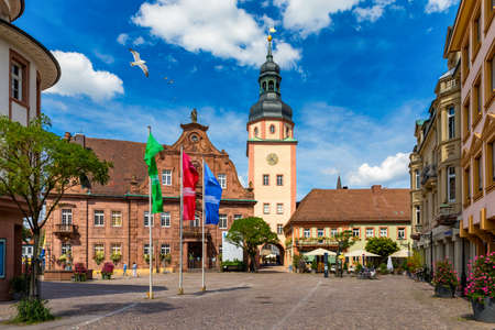 Market square with town hall and town hall tower, Ettlingen, Germany, Black Forest, Baden-Wuerttemberg, Germany, Europe. Downtown of Ettlingen town in Baden Wurttemberg, Germany. Stock fotó