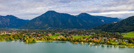 Tegernsee, Germany. Lake Tegernsee in Rottach-Egern (Bavaria), Germany near the Austrian border. Aerial view of the lake