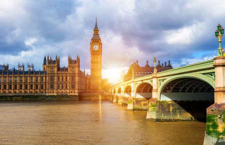 Big Ben and westminster bridge in London Stockfoto - 145649070