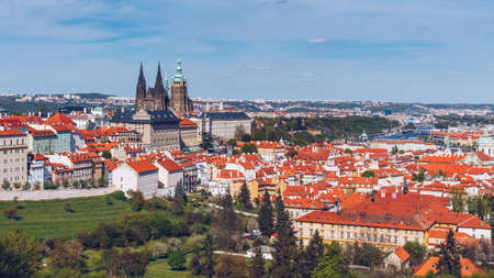 Panoramic view of Old town of Prague with tiled roofs. Prague, Czech Republic Stock fotó - 145649092