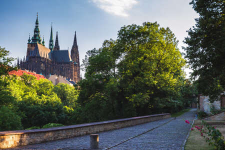 Prague Castle and Saint Vitus Cathedral, Czech Republic. Panoramic view Banco de Imagens