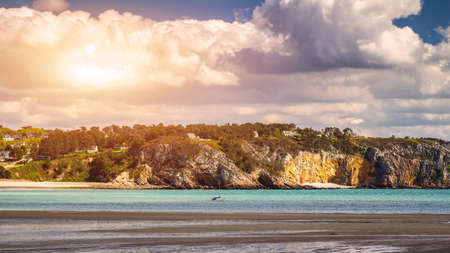 Beautiful area of Morgat with the sand beach and rocky coastline, Finistere, Brittany (Bretagne), France. Banco de Imagens