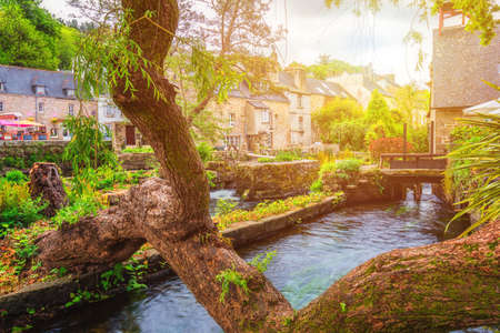 Idyllic scenery at Pont-Aven, a commune in the Finistere department of Brittany (Bretagne) in northwestern France Archivio Fotografico