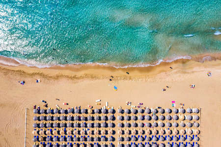 Aerial shot of beautiful turquoise beach Falasarna (Falassarna) in Crete, Greece. View of famous paradise sandy deep turquoise beach of Falasarna (Falassarna) in North West, Crete island, Greece. Standard-Bild - 145656168