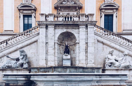 Front view of the Palazzo Senatorio (Senatorial Palace) and Fontana della Dea Roma in The Piazza del Campidoglio on top of the Capitoline Hill in Rome, Italy 写真素材
