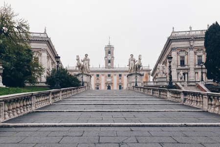 Cordonata staircase and white statues of Castor and Pollux in Piazza del Campidoglio (Capitoline Square) on the Capitoline Hill, Rome, Italy