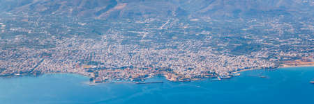 Crete island. Beautiful view of the Crete island Greece from the plane. Holiday, relaxation, sea. Crete view from plane. Greek Island. Seaside of Crete island, aerial view, Greece. Zdjęcie Seryjne - 145656978