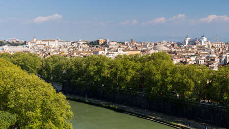 View of the historical center of Rome with the classic historical buildings. Italy 写真素材