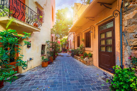 Street in the old town of Chania, Crete, Greece. Charming streets of Greek islands, Crete. Beautiful street in Chania, Crete island, Greece. Summer landscape. Chania old street of Crete island Greece. Archivio Fotografico - 145656998