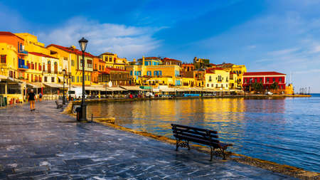 View of old port of Chania. Landmarks of Crete island. Greece. Bay of Chania at sunny summer day, Crete Greece. View of the old port of Chania, Crete, Greece. The port of chania, or Hania. Zdjęcie Seryjne