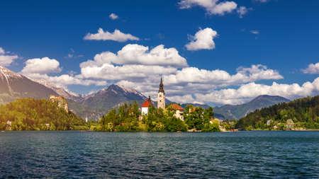 Lake Bled with St. Marys Church of Assumption on small island. Bled, Slovenia, Europe. The Church of the Assumption, Bled, Slovenia. The Lake Bled and Santa Maria Church near Bled, Slovenia.