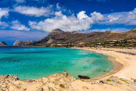 Shot of beautiful turquoise beach Falasarna (Falassarna) in Crete, Greece. View of famous paradise sandy deep turquoise beach of Falasarna (Phalasarna) in North West, Crete island, Greece.