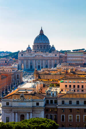 Vatican city. St Peter's Basilica. Panoramic view of Rome and St. Peter's Basilica, Italy
