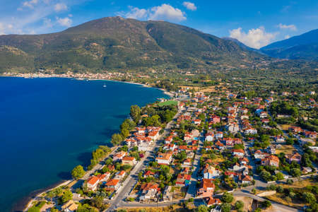 Aerial view of Karavomylos city, famous for Melissani Lake Cave, Kefalonia, Greece. Stockfoto
