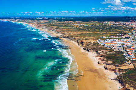 Campismo beach and Dunas beach and Island Baleal near Peniche on the shore of the Atlantic ocean in west coast of Portugal. Beautiful Baleal beach at Baleal peninsula close to Peniche, Portugal. Stok Fotoğraf - 154889431