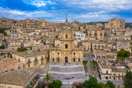 Duomo of San Giorgio in Modica, fine example of sicilian baroque art. Sicily, southern Italy. Modica (Ragusa Province), view of the baroque town. Sicily, Italy.