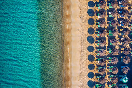 Aerial shot of Tuerredda beach on a beautiful day, Sardinia, Italy. Aerial drone view of Tuerredda in Sardegna. Famous Tuerredda beach on the south of Sardinia near Teulada. Sardinia, Italy.