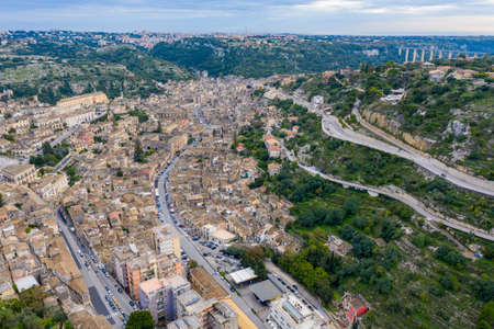 Aerial view of Modica, Sicily, Italy. Modica (Ragusa Province), view of the baroque town. Sicily, Italy. Ancient city Modica from above, Sicily, Italy