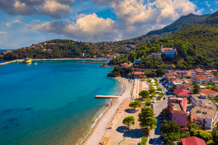 Aerial view of city of Poros, Kefalonia island in Greece. Poros city in middle of the day. Cephalonia or Kefalonia island, Ionian Sea, Greece. Poros village, Kefalonia island, Ionian islands, Greece.