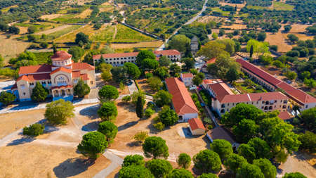 Monastery of Agios Gerasimos on Kefalonia island, Greece. Sacred Monastery of Agios Gerasimos of Kefalonia, Greece. Stockfoto