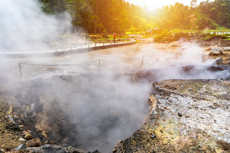 Hotsprings Of The Lake Furnas. Sao Miguel, Azores. Lagoa das Furnas Hotsprings. São Miguel, Azores, Portugal. Steam venting at Lagoa das Furnas hotsprings on Sao Miguel island in the Azores, Portugal. Stok Fotoğraf - 154888464