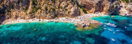 Cala Mariolu view from above. Cala Mariolu famous beach. Italy Sardinia Nuoro province National Park of the Bay of Orosei and Gennargentu Cala Mariolu. Sardinia, Italy.
