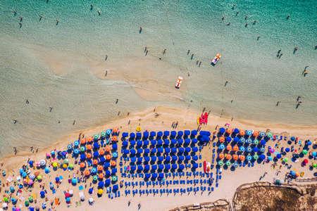 Stunning aerial view of Pelosa Beach (Spiaggia Della Pelosa). Stintino, Sardinia, Italy. La Pelosa beach, Sardinia, Italy. La Pelosa beach, probably the most beautiful beach in Sardinia, Italy