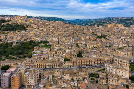 Aerial view of Modica, Sicily, Italy. Modica (Ragusa Province), view of the baroque town. Sicily, Italy. Ancient city Modica from above, Sicily, Italy Stok Fotoğraf - 154888234