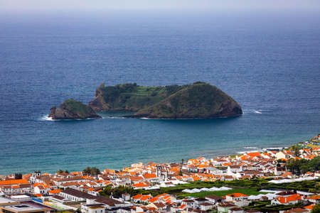 Island of Vila Franca do Campo from the chapel of Nossa Senhora da Page. San Miguel Island, Portugal. Travel to the Azores. Island of Vila Franca do Campo near San Miguel island, Azores, Portugal. Stok Fotoğraf - 154888308