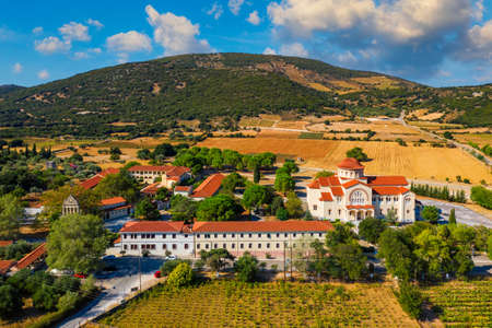 Monastery of Agios Gerasimos on Kefalonia island, Greece. Sacred Monastery of Agios Gerasimos of Kefalonia, Greece. Stok Fotoğraf