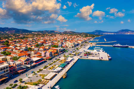 Lixouri is the second largest city of Kefalonia, Greece. Aerial view of city and port of Lixouri, Cefalonia island, Ionian, Greece.