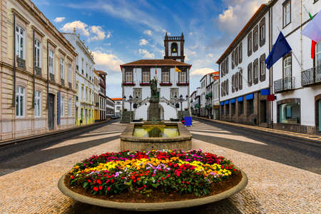 City Hall in Ponta Delgada, Azores, Portugal. Ponta Delgada City Hall with a bell tower in the capital of the Azores. Portugal, Sao Miguel. Town Hall, Ponta Delgada, Sao Miguel, Azores, Portugal Standard-Bild