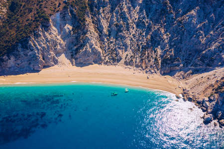 Famous Platia Ammos beach in Cephalonia (Kefalonia) island, Greece. Aerial view of Platia Ammos beach , one of famous beach in Kefalonia island in Greece.