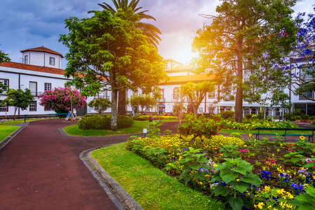 Beautiful Jardim Sena Freita, located in the historic center of Ponta Delgada city on Sao Miguel island. Azores, Sao Miguel, Portugal.