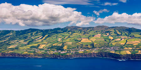 Aerial view from airplane, the Azores Islands, Sao Miguel and the Atlantic Ocean, Portugal