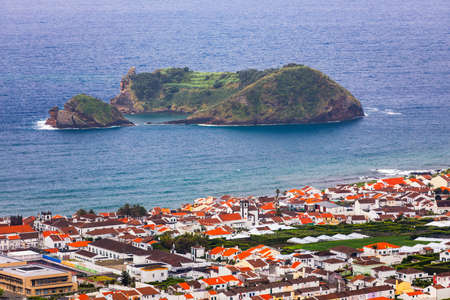 Island of Vila Franca do Campo from the chapel of Nossa Senhora da Page. San Miguel Island, Portugal. Travel to the Azores. Island of Vila Franca do Campo near San Miguel island, Azores, Portugal.