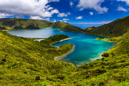 Beautiful panoramic view of Lagoa do Fogo lake in Sao Miguel Island, Azores, Portugal.