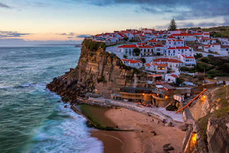 Landscape of Azenhas do Mar. Azenhas do Mar is a seaside town (residential neighborhood) in the municipality of Sintra, Portugal. Close to Lisboa, Portugal.