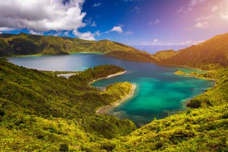 "Beautiful panoramic view of Lagoa do Fogo lake in Sao Miguel Island, Azores, Portugal. ""Lagoa do Fogo"" in São Miguel Island, Azores. Panoramic image of Lagoa do Fogo, Sao Miguel, Azores, Portugal."