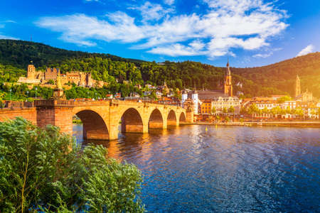 Landmark and beautiful Heidelberg town with Neckar river, Germany. Heidelberg town with the famous Karl Theodor old bridge and Heidelberg castle, Heidelberg, Germany.