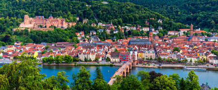 Heidelberg skyline aerial view from above. Heidelberg skyline aerial view of old town river and bridge, Germany. Aerial View of Heidelberg, Germany Old Town. Video of the aerial view of Heidelberg. Редакционное